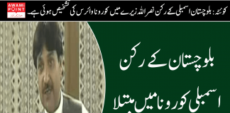 Balochistan Assembly member suffering from corona